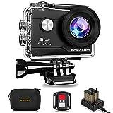 Apexcam 4K Action cam 20MP WiFi Sports Kamera Ultra HD Unterwasserkamera 40m 170  Weitwinkel 2.4G Fernbedienung Zeitraffer 2x1050mAh Akkus 2.0-inch LCD Bildschirm und andere