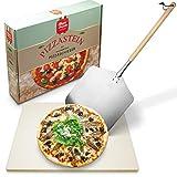 Alfredo DaGusto Pizzastein - [1x] Pizzastein für Backofen aus Cordierit und [1x] Pizzaschieber aus Edelstahl mit Pappelholzgriff - inklusive Anleitung