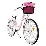 Milord. Komfort Fahrrad mit Korb, Hollandrad, Damenfahrrad, 3-Gang, Rosa, 28 Zoll
