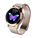 Smart Watch KW10, runde Touch Screen IP68 wasserdichte Smartwatch for Frauen, Fitness Tracker mit Herzfrequenz und Schlaf-Pedometer, Armband for IOS/Android (Color : Gold)
