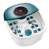 Fußbad Fußmassagegerät, mit Massage- & Whirlpool-Heizfunktion, Vibrations- & Whirlpool-Massage, Fußsprudel Automatisch Schließen, 16 Abnehmbare Massagerollen, Temperaturregulierbar