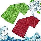 KATOOM 2er Kühlendes Handtuch Fitnesshandtuch Golf Handtuch Kühltücher Kühlhandtuch Cool Towel für Sport Laufen Wandern Camping Reise Yoga