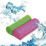 KATOOM 2 Stücke Kühlendes Handtuch Fitnesshandtuch Golf Handtuch Kühltücher Kühlhandtuch Cool Towel (grün und rosa rot)