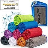 Cooling Towel für Sport & Fitness, Mikrofaser Handtuch/Kühltuch als kühlendes Handtuch für Laufen, Trekking, Reise & Yoga, Airflip Cooling Towel, Farbe: grau-Blauer Rand, Größe: 100x30cm