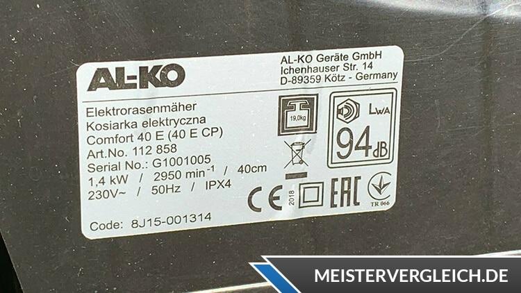 AL-KO Comfort 40 E Datenblatt
