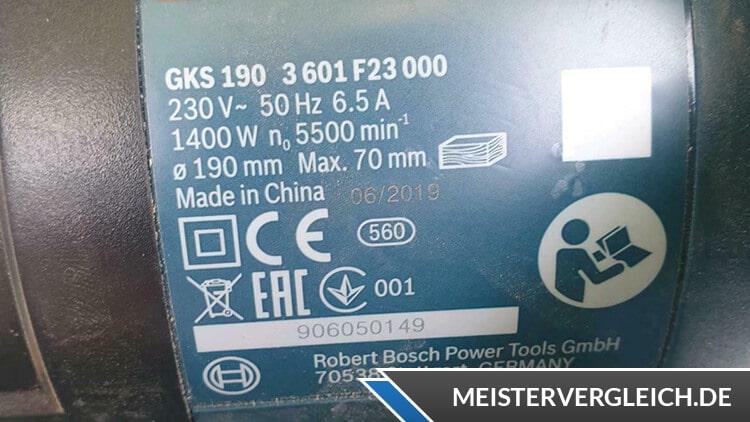 Bosch Professional Handkreissäge GKS 190 Datenblatt