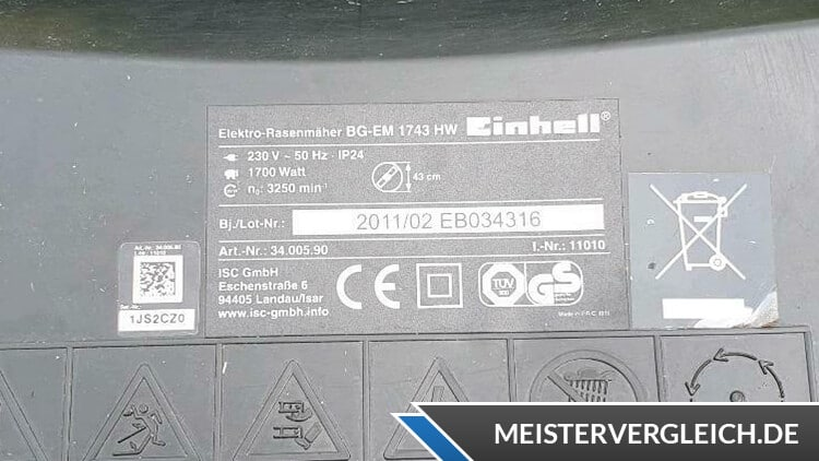 Einhell BG-EM 1743 HW Datenblatt