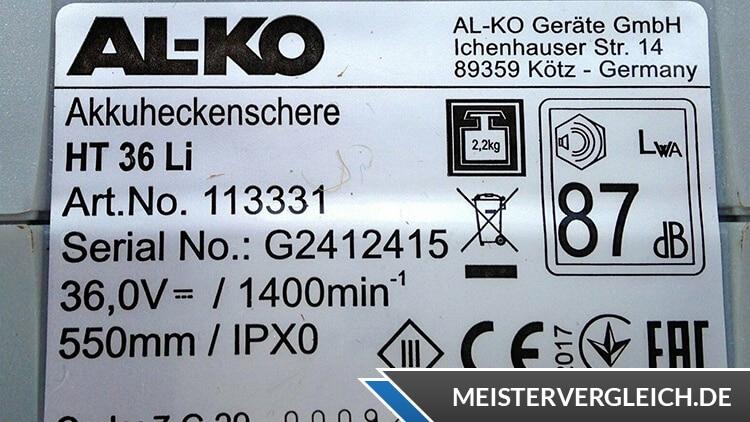 Heckenschere AL-KO Datenblatt