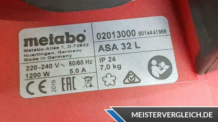 Metabo 602013000 ASA 32 L Nass-Trockensauger Datenblatt