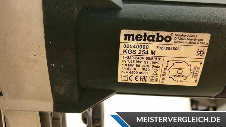 Metabo KGS 254 M Datenblatt