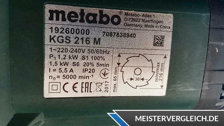 Metabo KGS216M Datenblatt