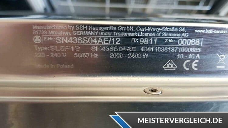 Spülmaschinen Datenblatt