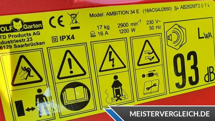 WOLF Garten Elektro Rasenmäher Ambition 34 E Datenblatt