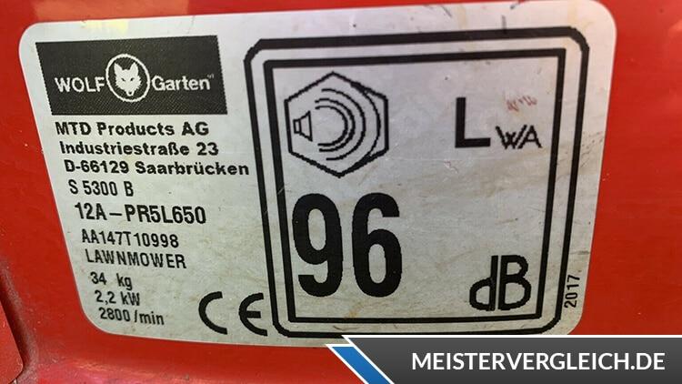 WOLF-Garten S 5300 A Benzin Rasenmäher Datenblatt