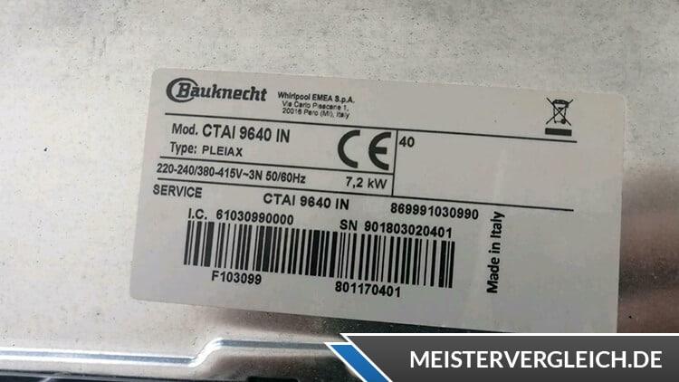 Bauknecht CTAI 9640 IN Datenblatt