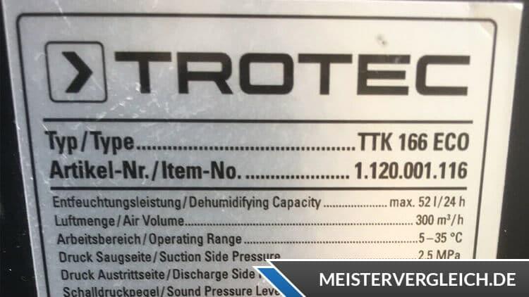 Bautrockner von Trotec mit Datenblatt