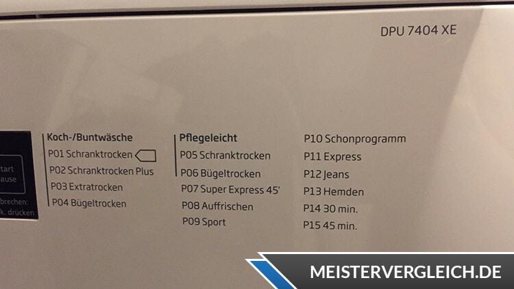 Beko DPU7404 XE Wärmepumpentrockner Programme