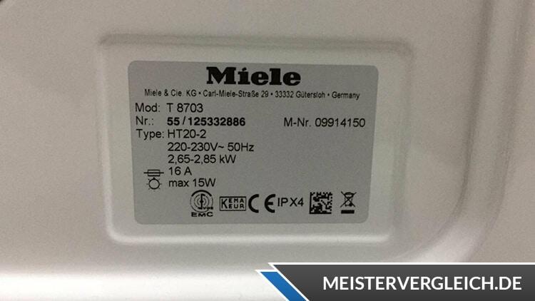 Miele T8703 Datenblatt Ablufttrockner
