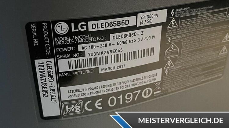 OLED TV LG Datenblatt