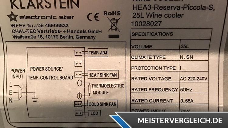 Weinkühlschrank Klarstein Datenblatt