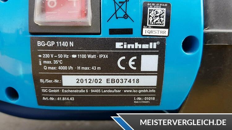 Einhell Gartenpumpe BG-GP 1140 N Schalter