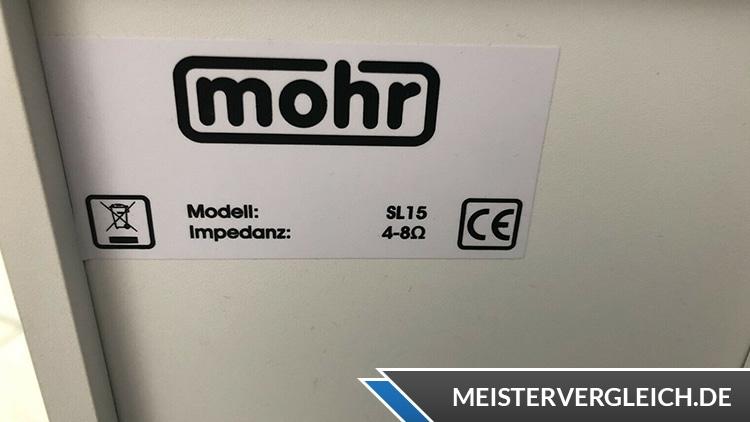 Mohr SL15 Lautsprecher Datenblatt