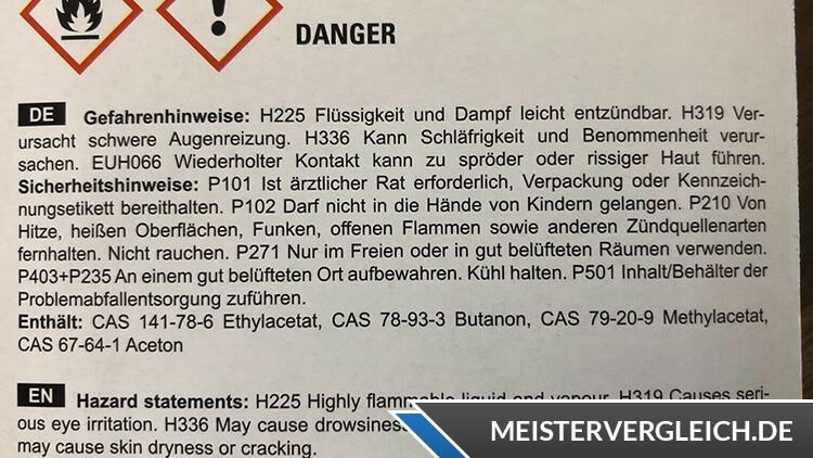 Unterwasser Reparatur-Set Gefahrenhinweis