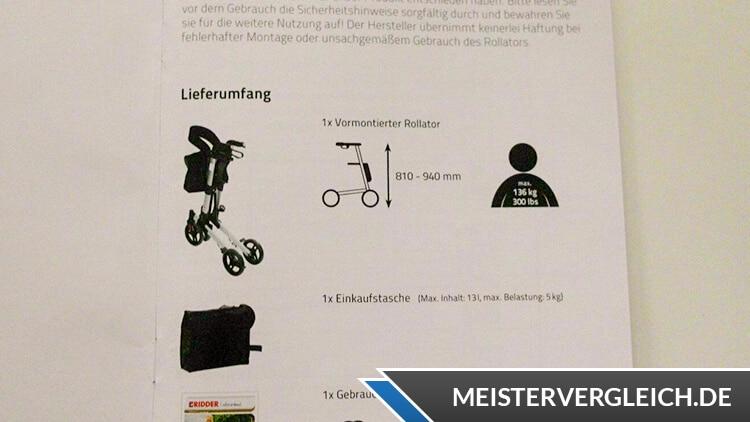 Ridder Rollator Premium Anleitung
