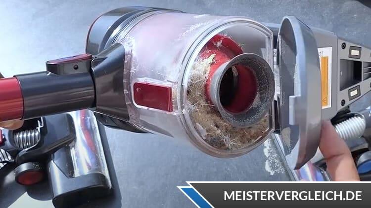 Silvercrest 2-in-1 Akku-Staubsauger Staubbehälter nach dem Test