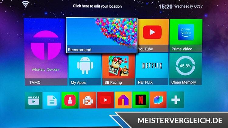 4K Android TV Box auf dem Fernseher