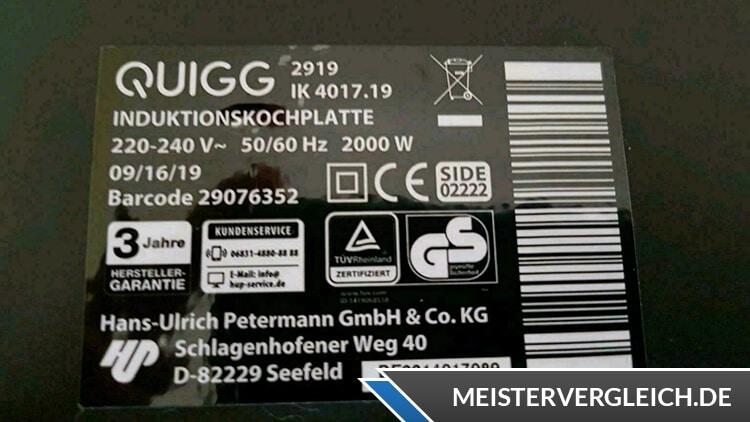 QUIGG Induktionskochplatte Datenblatt