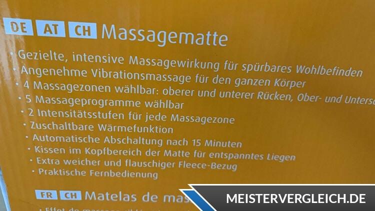 MEDISANA Massagematte Eigenschaften
