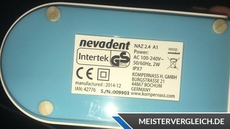 NEVADENT elektrische Zahnbürste Datenblatt