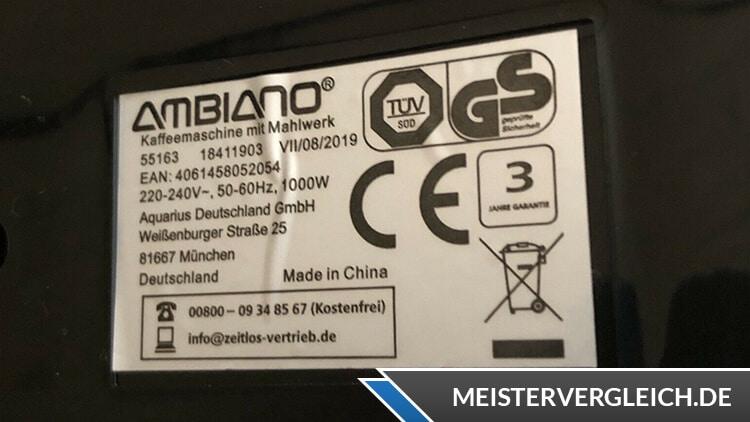 AMBIANO Kaffeemaschine mit Mahlwerk Datenblatt