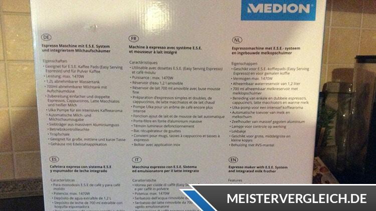Medion MD 17116 Espressomaschine Lieferumfang
