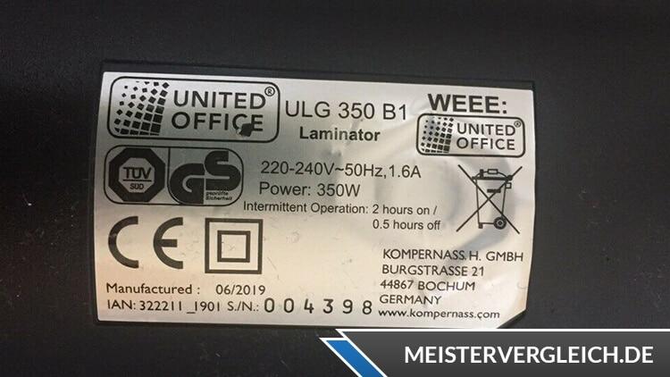 UNITED OFFICE Laminiergerät Datenblatt