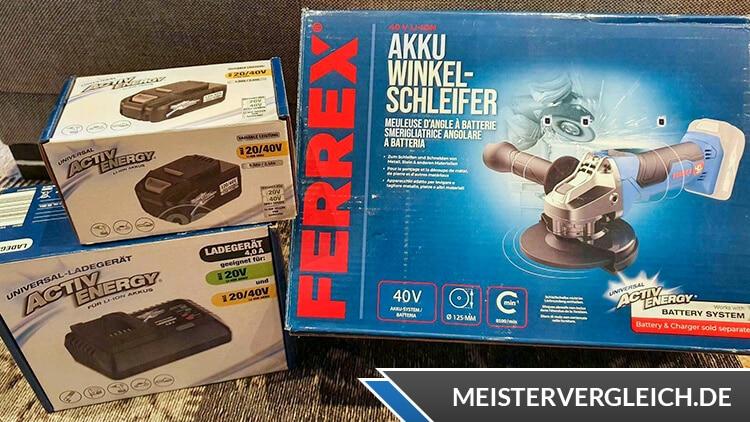 FERREX Akku-Winkelschleifer Verpackung