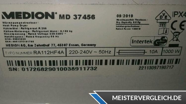 MEDION Wärmepumpentrockner MD 37456 Datenblatt