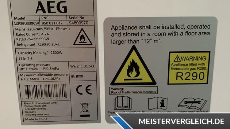 AEG Klimaanlage ChillFlex Pro Datenblatt