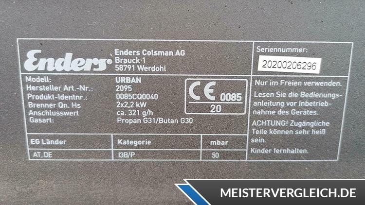 Enders Mobiler Gasgrill Urban Datenblatt