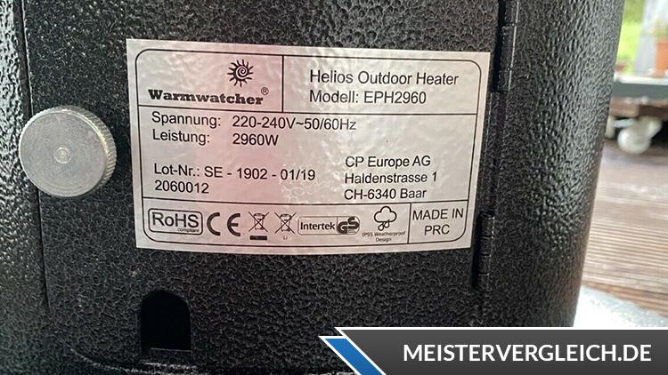 WARMWATCHER Infrarot-Heizstrahler Datenblatt